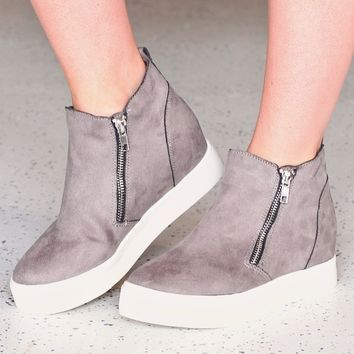Grey Taylor Zipper Hidden Wedge Sneaker