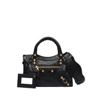 Balenciaga Giant 12 Gold Mini City Black/ Black - Women's Giant Mini City Handbag