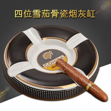 High Quaity Luxury COHIBA Cigar Ashtray Elegant Large Round Ceramic Table Cigarette Cigar Holder