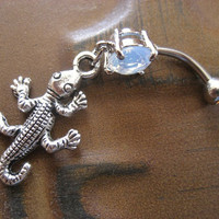 Belly Button Jewelry- Lizard Charm Opal Navel Ring Gecko Piercing Bar Barbell