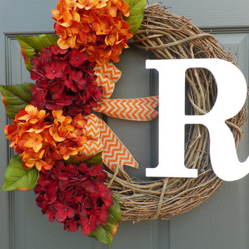 WREATH - hydrangea wreath - fall wreath - grapevine wreath - monogram wreath - harvest wreath - autumn wreath - personalized  wreath