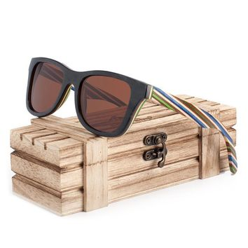 BOBO BIRD Brand 100% Nature Wooden Color Stripe Frame Sunglasses Women Man Polarized Steampunk Sun Glasses Dropshipping OEM