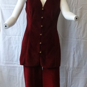 1970s Vintage Vanity Fair Burgundy Velvet Pantsuit with Long Vest, Size 12, Fabulous Button Vest, Evening or Formal Dress, Christmas Parties