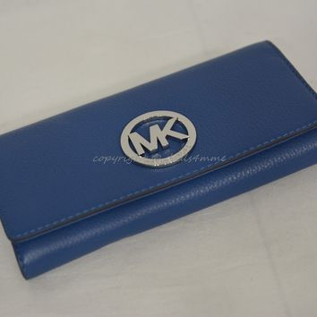 NWT MICHAEL Michael Kors Fulton Carryall Wallet in Steel Blue Leather