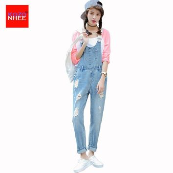Women Ripped Denim Jumpsuits Casual Hole Romper Denim Pencil Overalls Stripped Loose Plus Size Women Fashion