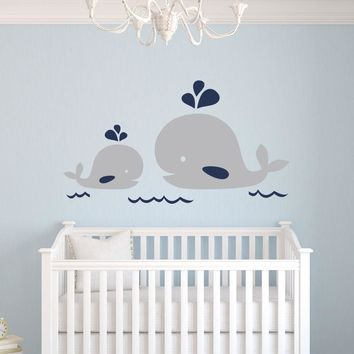 D0075 Nautical Mom and Baby Whale Wall Decal - Nautical Decor - Baby Nursery Decor-home wall sticker