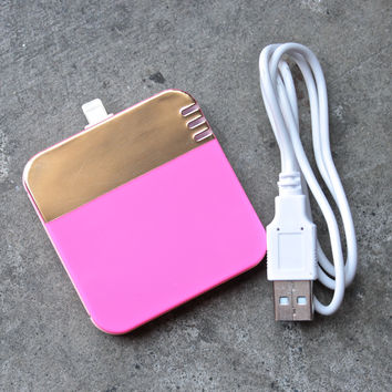 back me up! mobile charger - colorblock neon pink + gold