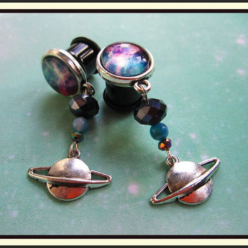 "Spaceadelic Galaxy stretched dangle planet earrings space EAR PLUGS you pick the gauge size 2g, 0g, 00g, 7/16"", 1/2"" aka 6, 8, 10, 12mm"