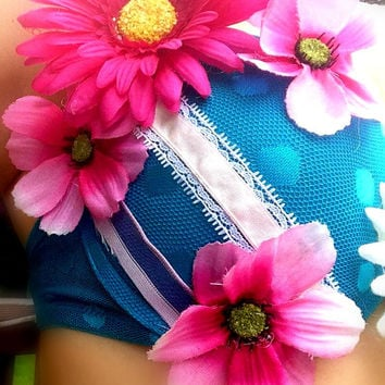 Blue Cute Rave Bra Festival Bra with Flowers and Ribbons. Size 34B.