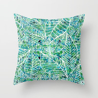 White and green leaves Throw Pillow by Julia Grifol Designs