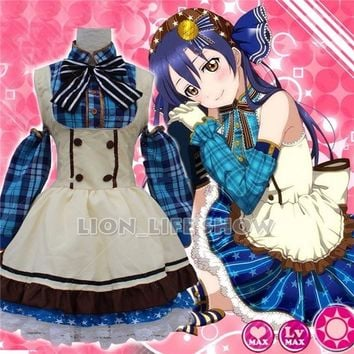 Japanese Anime Love Live! Sonoda Umi Lolita Girls Fancy Candy Maid Dress Cosplay Costumes Uniform