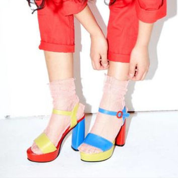 ColorBlock Leather MisMatch Platform Heels