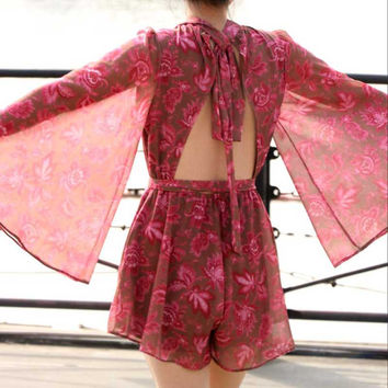 chiffon women fashion floral printed loose resort playsuits