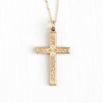 Antique 14k Rosy Yellow Gold Filled Cross Pendant Necklace - Vintage Victorian Flower Crucifix Religious Faith Double Sided Repousse Jewelry