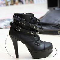 Cool New Womens Studded High Heels Platform Lace-up Ankle Boots Shoes