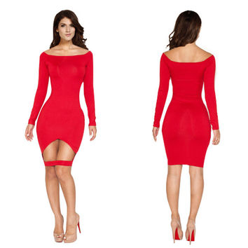 Red Long Sleeve Hollow Cut Out Bodycon Midi Dress