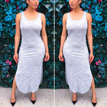 Gray Sleeveless Bodycon Maxi Dress With Double Slit