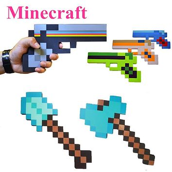 New Minecraft figure toys cosplay foam sword pickax gun EVA toys Minecraft diamond weapons model toys Brinquedos for kids gifts