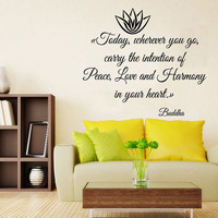 Lotus Wall Decals Buddha Life Quotes Peace Love Harmony In Your Heart Flower Vinyl Decal Sticker Living Room Interior Design Decor KG732