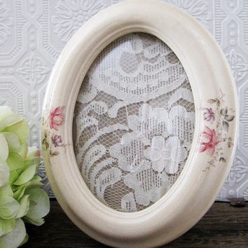 Floral Picture Frame Porcelain Oval Frame With Bubble Glass 5x7