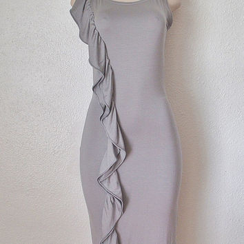 Gray Ruffle Party Dress Womens Clothing Bridesmaid Bodycon