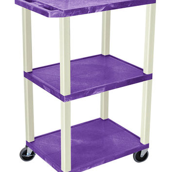 Luxor Purple 2 Flat Shelf Multipurpose Mobile Multimedia Utility Storage Service Tuffy AV Cart With Lockable Cabinet 42 Putty