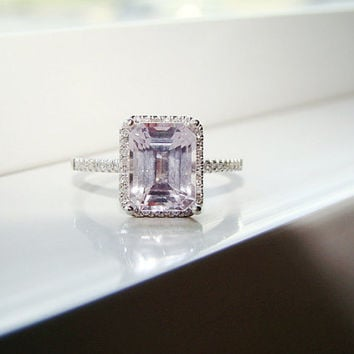 Halo Pale Pink Kunzite Diamond Ring Gemstone by PenelliBelle