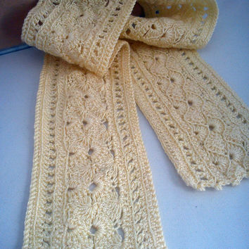 Soft yellow crochet lace scarf by m0hu on Etsy