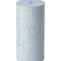 Designer Home Gray Crackle Pillar Candle