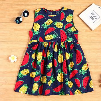 Fashion Summer Flower Girl Dress Fruits Printed Sleeveless Cotton Princess Party Dress Girls Clothes