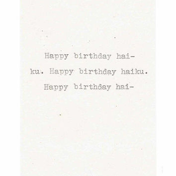 Happy Birthday Haiku Card | Funny Birthday Card Poetry Writer Humor Vintage Typewriter Weird Men Women