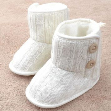 Button New Beauty Cute Toddler Booties Soft Sole Baby Boots Crib Warm Infant Shoes