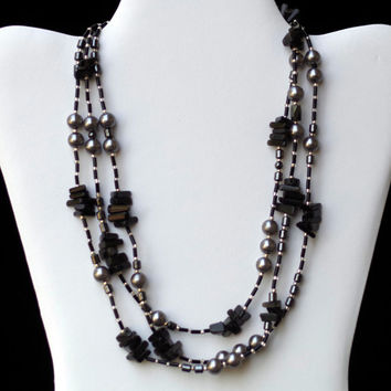 Extra Long Multi Strand Necklace/ Black Gray Silver/ Wrap Necklace/ Natural Semiprecious Stones/ Agate Pearls/ Flapper Necklace/ OOAK Unique