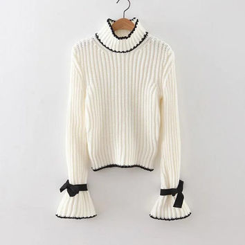 White Turtle Neck Bow Embellished Bell Sleeve Sweater