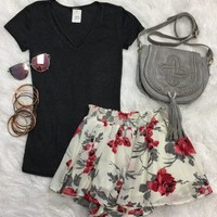 Goes With Everything V-Neck Top: Charcoal