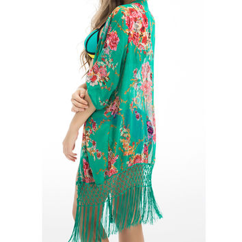 2016 Summer Floral Beach Cover Up Bikini Bathing Suit Cover Ups BeachWear Tassel Trim Swimsuit Coverup Dress Saida De Praia