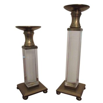 Pre-owned Striking Brass & Lucite Candle Holders - A Pair