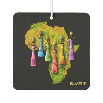 African Women In Colorful Dresses On Africa Map Car Air Freshener