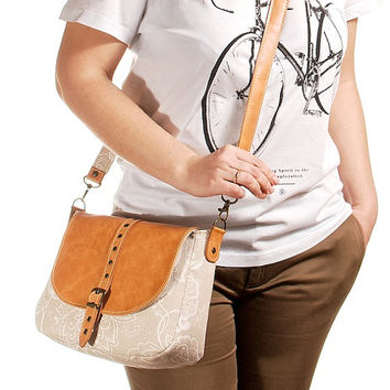 Leather shoulder bag. Crossbody bag. Durable canvas, genuine leather. Medium size.