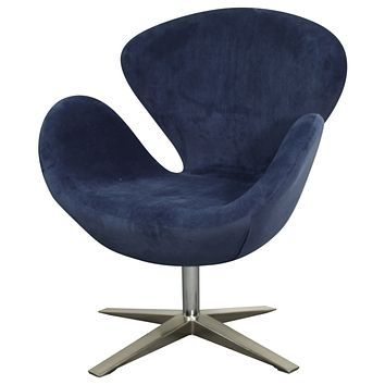 Beckett Fabric Swivel Chair Chrome Legs, Midnight Blue