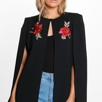 Plus Freya Embroidered Cape Jacket | Boohoo