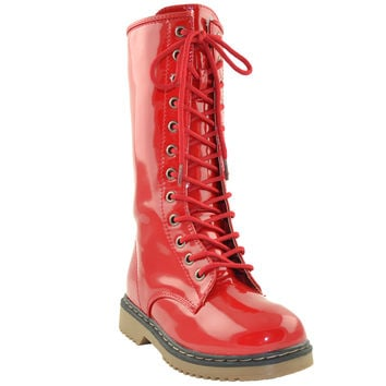 Girls Lace Up Patent Leather Knee High Boots Red