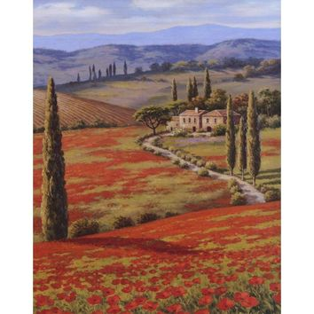 Mediterranean canvas wall art landscape pictures Red Poppy Field