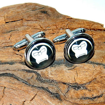 Winston overwatch icon cufflinks, Winston overwatch logo simbol, Winston patch, Winston emblem, gamer cuff links, video game Overwatch