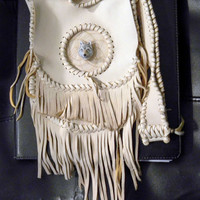Dream Catcher Fringed Leather Purse in The Native Inspired Boho Hippie Hipster Style