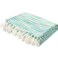 Watercolor Turquoise Cotton Throw Blanket