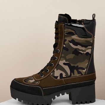 Camo Print Lace Front Lug Sole Military Boots