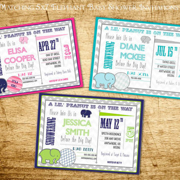 Elephant Baby Shower Invitations: Printable, Red Teal, Yellow Gray, Pink, Navy Pink, Teal Gray, Navy Lime Green by the Lil Shop that Could