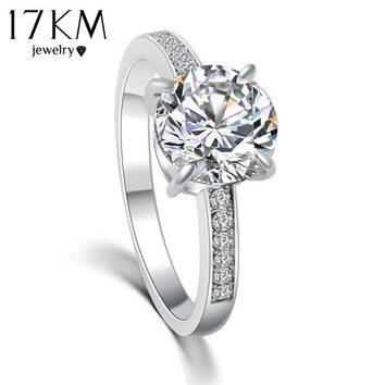 17KM 2016 Fashion Design Elegant Luxury Charm Austrian Crystal Zircon Ring Wedding Engagement Bridal Jewelry Rings For Women