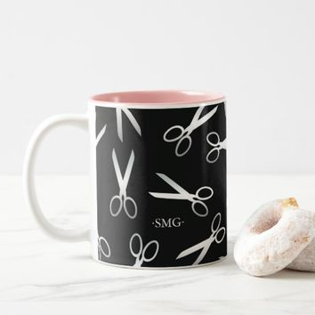 Silver Scissor Pattern | Custom Initials Two-Tone Coffee Mug